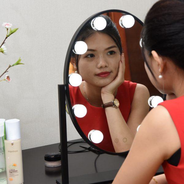 black makeup mirror with lights vanity table