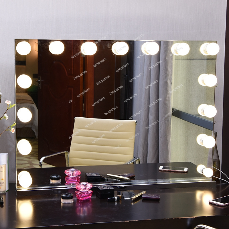 Big Mirror With Lightswhite Glass Top Fantasy Makeup Vanity With