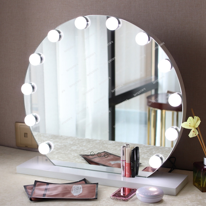 Makeup Ring And Lights: Professional Ring Makeup Mirror With Light Bulbs