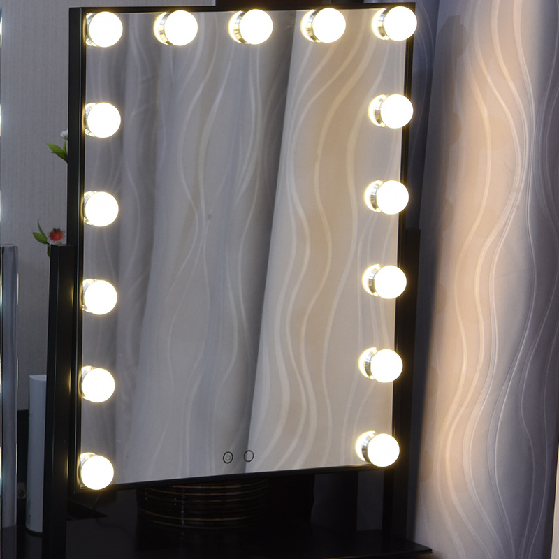 Big Hollywood Mirror With Led Light Bulbs For Dresser Lampstars