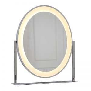 silver mirrors with lights around it for sale