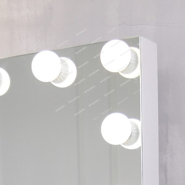white lighted vanity mirror