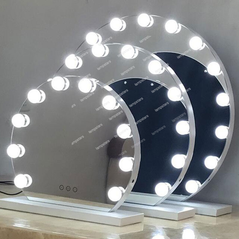 Professional Ring Makeup Mirror With Light Bulbs Lampstars